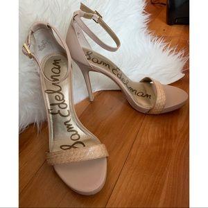 Sam Edelman Sandal Heels Size 8 Blush Pink / Tan